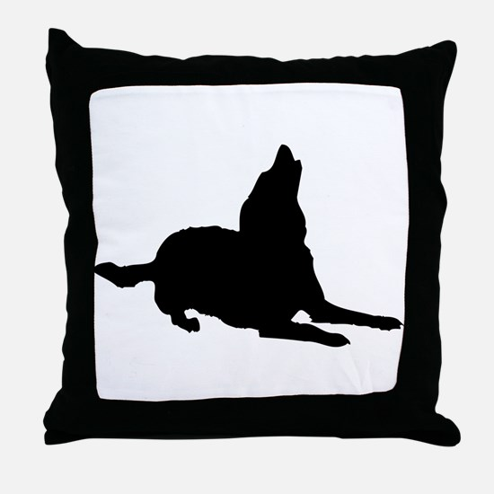 Dog barking silhouette Throw Pillow
