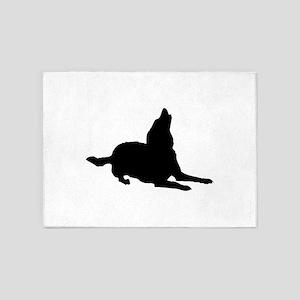 Dog barking silhouette 5'x7'Area Rug