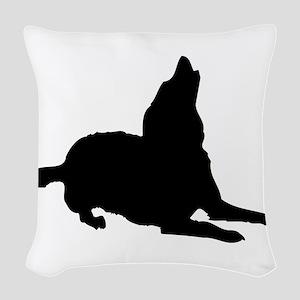 Dog barking silhouette Woven Throw Pillow