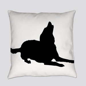 Dog barking silhouette Everyday Pillow