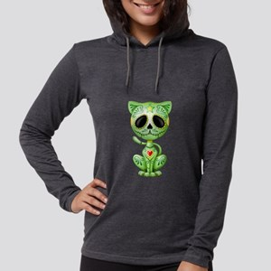 Green Zombie Sugar Skull Kitten Long Sleeve T-Shir