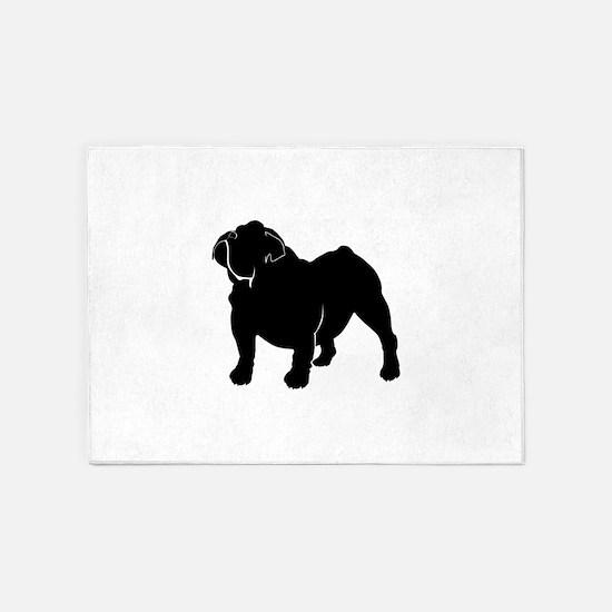 Bulldog silhouette 5'x7'Area Rug