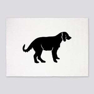 Irish red and white setter dog silh 5'x7'Area Rug