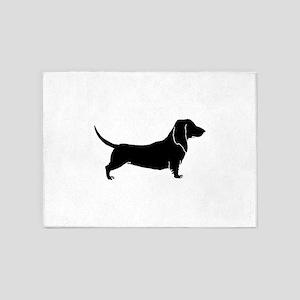 Bloodhound dog silhouette 5'x7'Area Rug