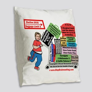 Toaster chasing Hillary for 20 Burlap Throw Pillow