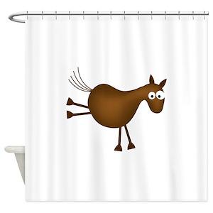 Funny Horse Cartoon Shower Curtains