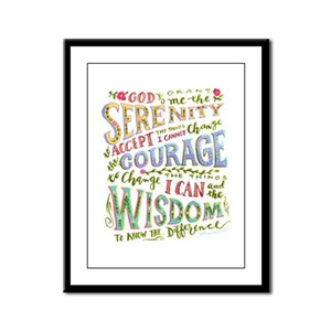 Serenity prayer hand lettered Framed Panel Print