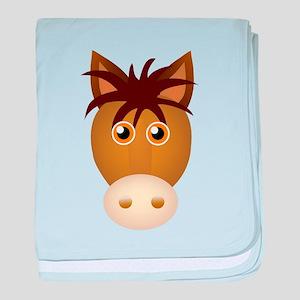 Horse face cartoon baby blanket