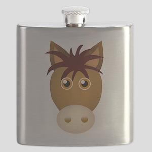 Horse face cartoon Flask