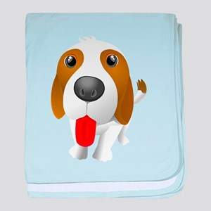 cartoon dog showing tongue baby blanket
