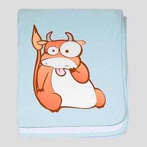 Funny Ox cartoon baby blanket