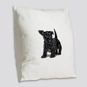 Cute Schnoodle dog Burlap Throw Pillow