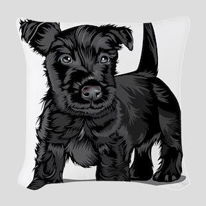 Cute Schnoodle dog Woven Throw Pillow