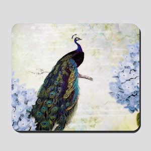 Peacock and hydrangea Mousepad