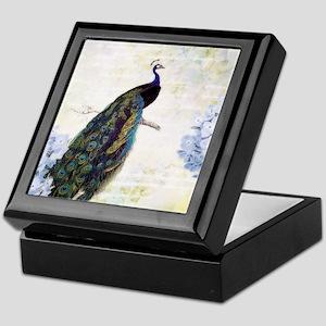 Peacock and hydrangea Keepsake Box