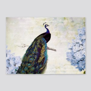 Peacock and hydrangea 5'x7'Area Rug