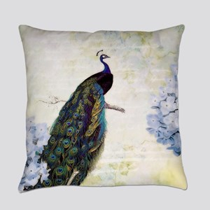Peacock and hydrangea Everyday Pillow