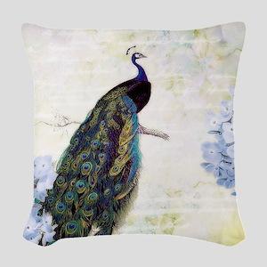 Peacock and hydrangea Woven Throw Pillow