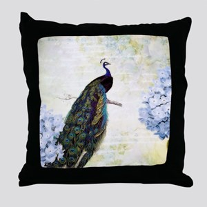 Peacock and hydrangea Throw Pillow
