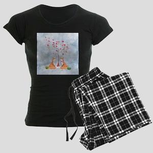 Tree of LOVE - 2 foxes under Women's Dark Pajamas
