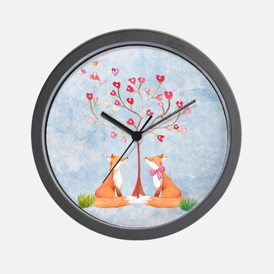 Tree of LOVE - 2 foxes under the love t Wall Clock