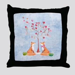 Tree of LOVE - 2 foxes under the love Throw Pillow
