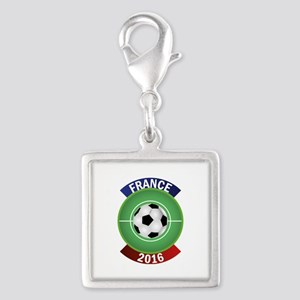 France 2016 Soccer Silver Square Charm