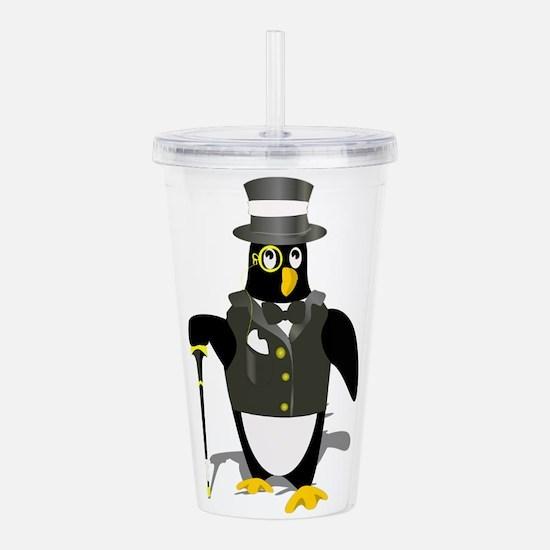 Penguin wearing tux cl Acrylic Double-wall Tumbler