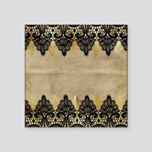Black and gold Lace on grungy old paper- d Sticker