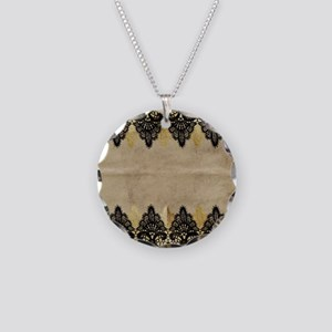 Black and gold Lace on grung Necklace Circle Charm