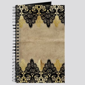 Black and gold Lace on grungy old paper- d Journal