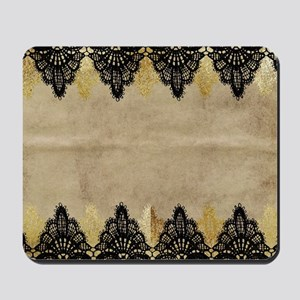 Black and gold Lace on grungy old paper- Mousepad
