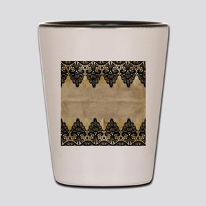 Black and gold Lace on grungy old paper Shot Glass