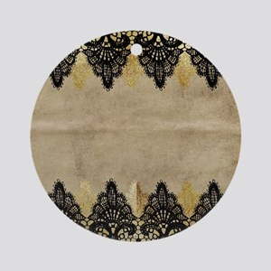 Black and gold Lace on grungy old p Round Ornament
