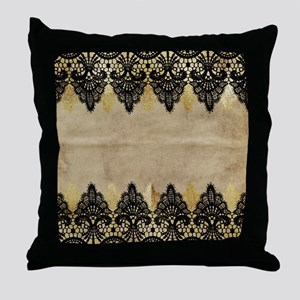 Black and gold Lace on grungy old pap Throw Pillow