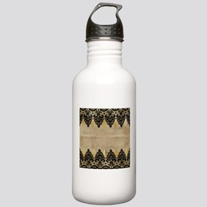 Black and gold Lace on Stainless Water Bottle 1.0L