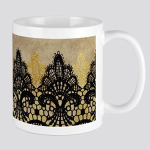 Black and gold Lace on grungy old paper- deco Mugs