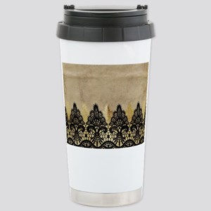 Black and gold Lace on Stainless Steel Travel Mug