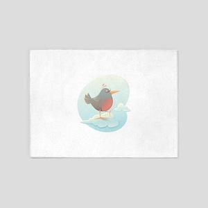 Twitter bird on cloud 5'x7'Area Rug