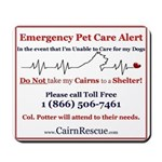 Emergency Pet Care Alert Mousepad