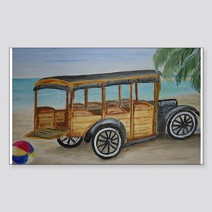 OLDTIME WOODIE BEACH WAGON Rectangle Sticker