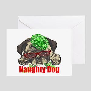 Naughty Dog Pug Greeting Card