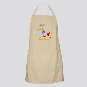 Old crane holding a fish clip art Apron