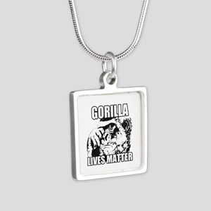 Gorilla lives matter Silver Square Necklace