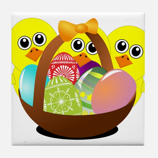 Funny chicks cartoon with Easter eggs Tile Coaster