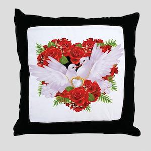Roses pigeons illustration Throw Pillow