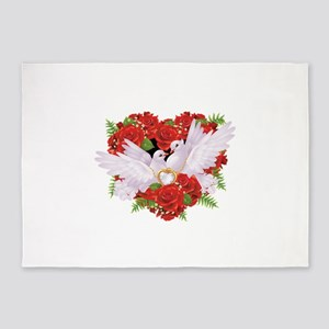 Roses pigeons illustration 5'x7'Area Rug