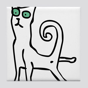 Stretching cat Tile Coaster