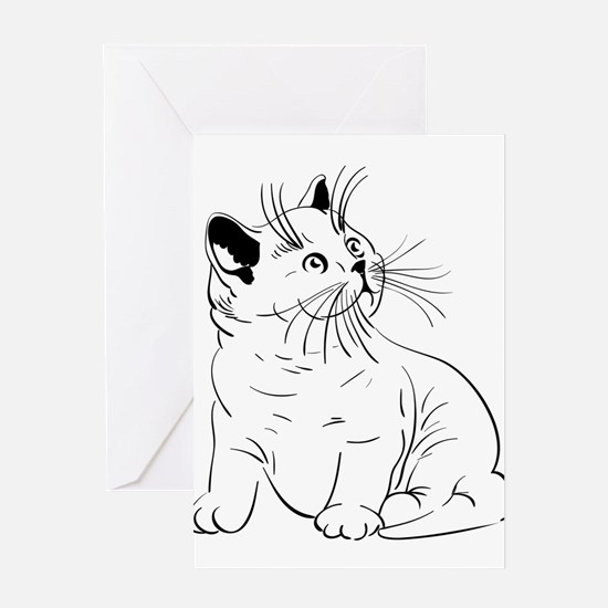 Cat pencil drawing Greeting Cards