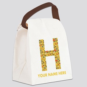 Emoji Letter H Personalized Canvas Lunch Bag